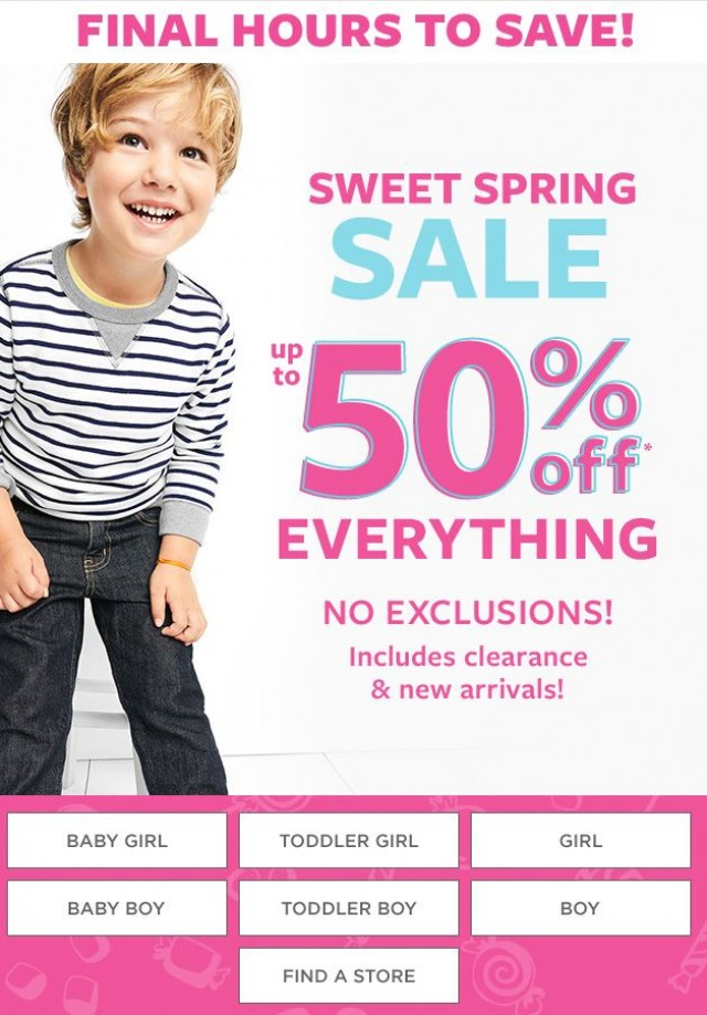 Coupon for: Carter's   OshKosh - Up to 50% off everything! Last chance.