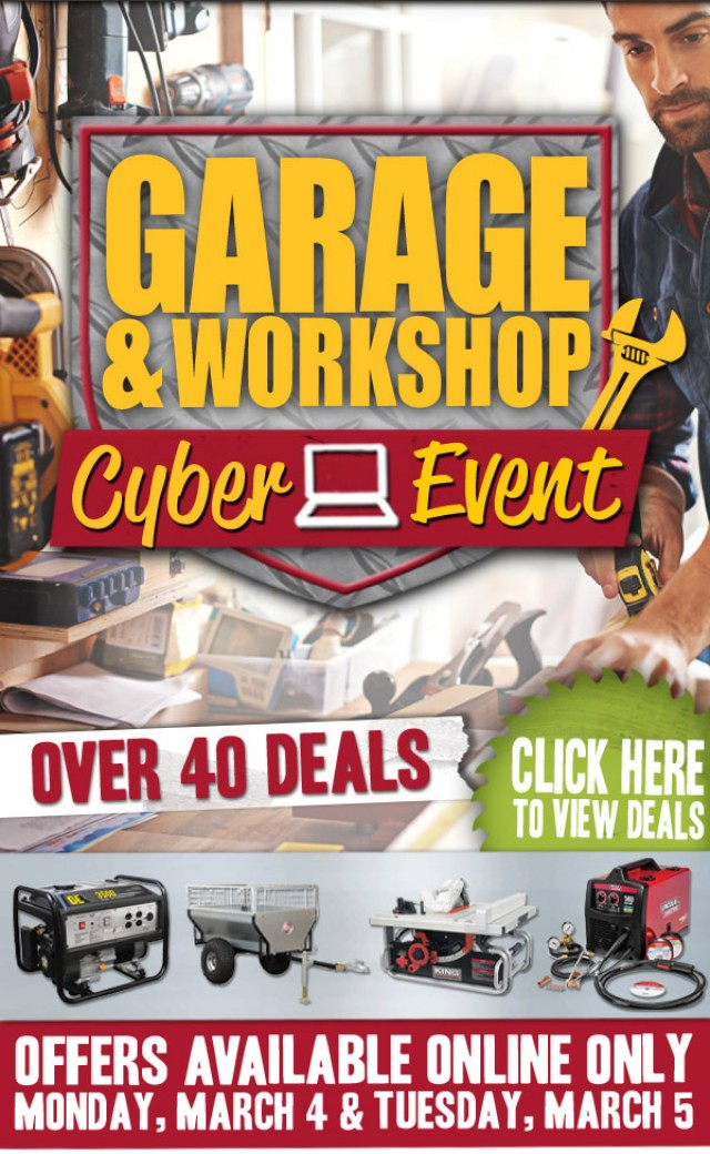 Coupon for: Peavey Mart - Garage & Workshop Event On Now