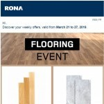 Coupon for: RONA - FLOORING EVENT: Up to 30% off