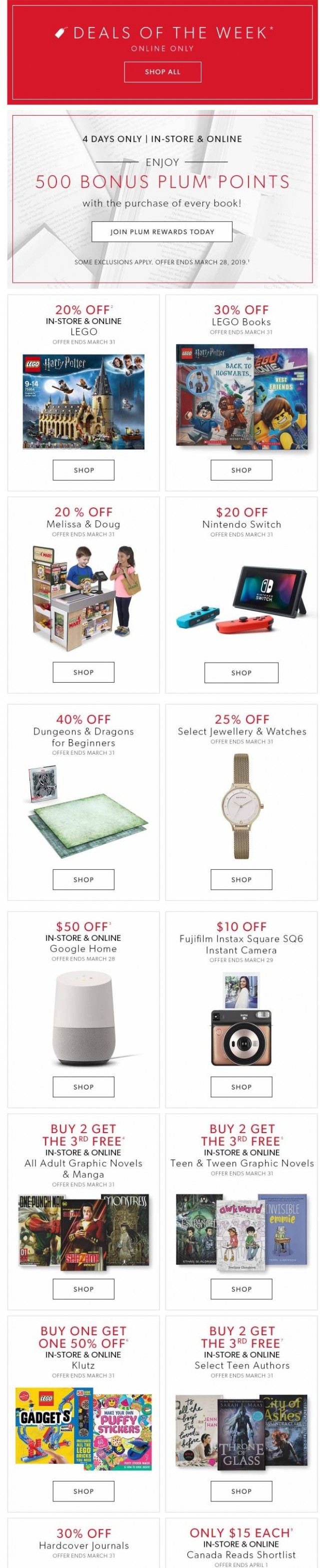 Coupon for: Indigo   Chapters - Deals Of The Week + 500 BONUS Plum Points On Every Book
