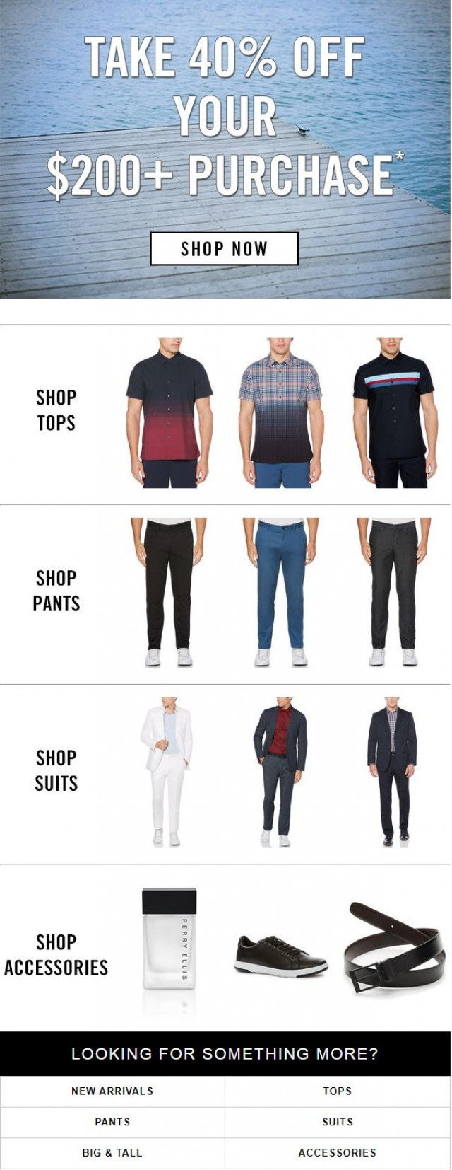 Coupon for: Perry Ellis - Going on Now: 40% Off Your $200+ Purchase