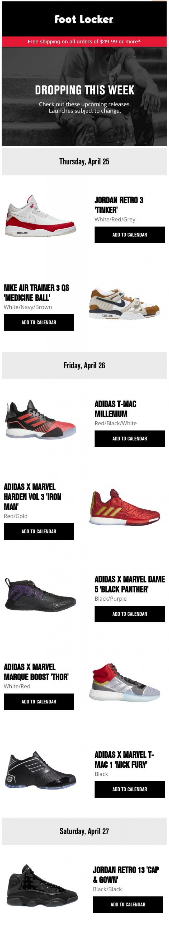 Coupon for: Foot Locker - Check out this week's releases!