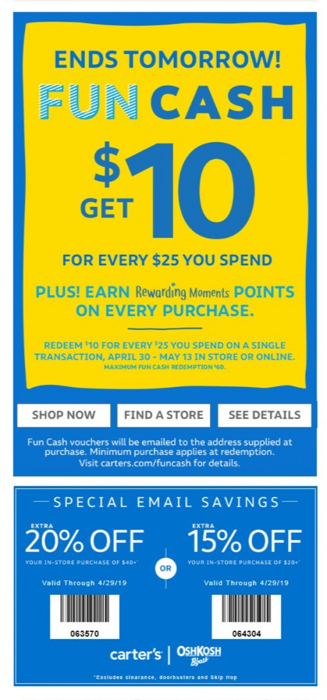 Coupon for: Carter's - Ends Tomorrow!