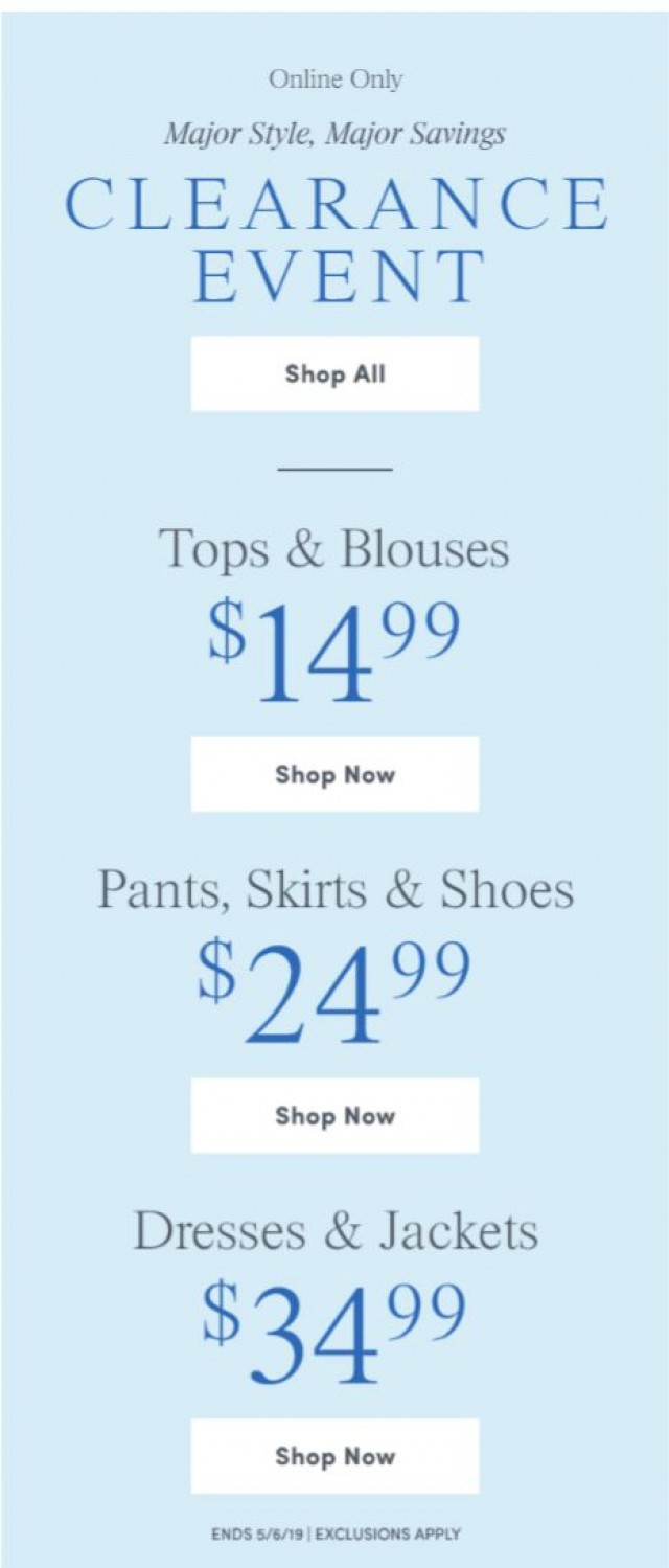 Coupon for: Ann Taylor Factory - $14.99 Tops, $24.99 Pants, $34.99 Dresses & More!
