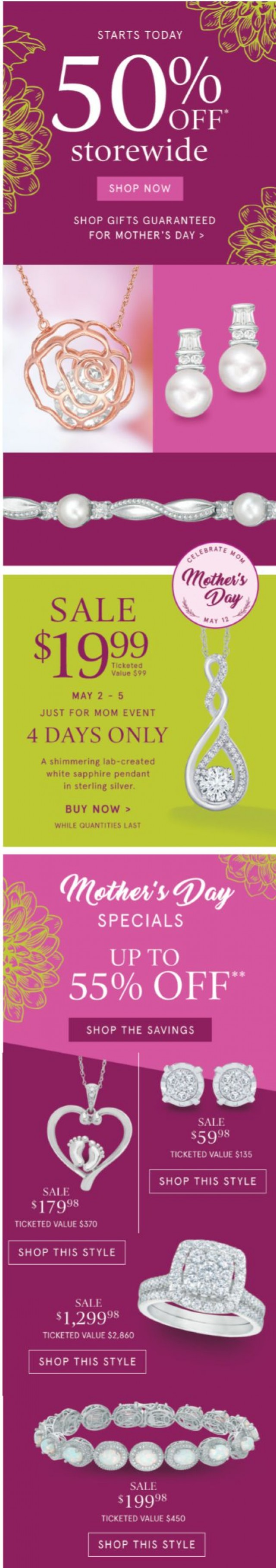 Coupon for: Zales Outlet - 50% Off Storewide Starts TODAY | Time to Spoil Mom!