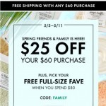 Coupon for: Origins - Friends & Family Starts Now! $25 Off + FREE Full-Size