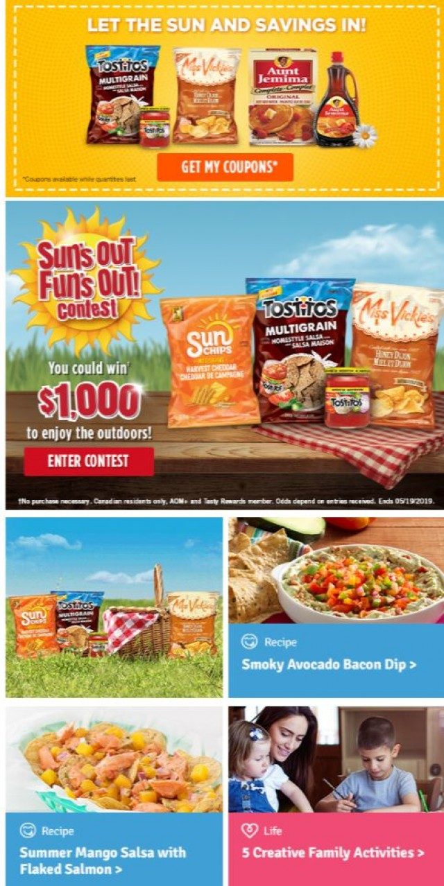 Coupon for: Tasty Rewards - DON'T MISS! Our sunniest contest yet