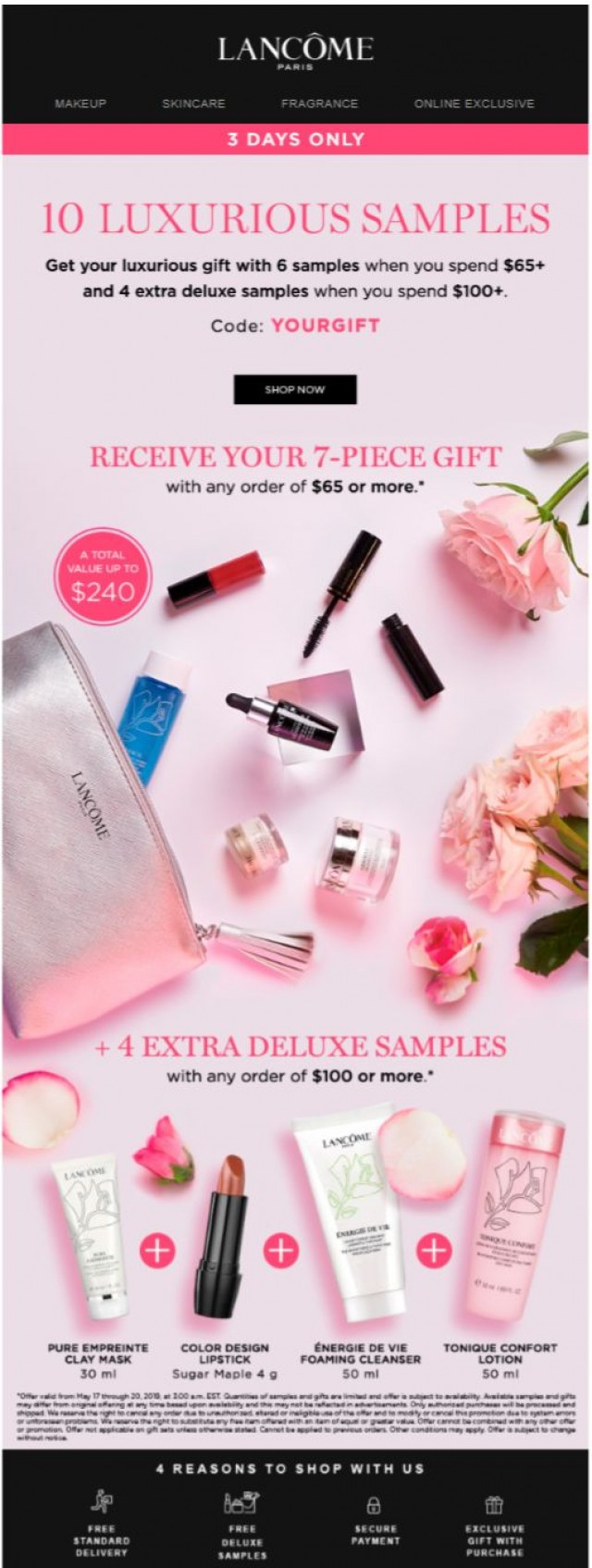 Coupon for: Lancolme - Enjoy 10 FREE Deluxe Samples