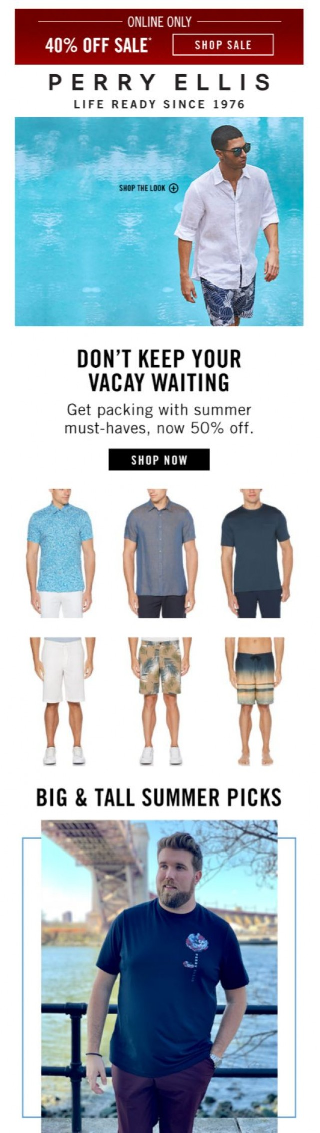 Coupon for: Perry Ellis - Just Landed: Your Memorial Day Packing Guide
