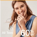 Coupon for: Gap - 60% off tees, 50% off shorts, 40% off dresses.