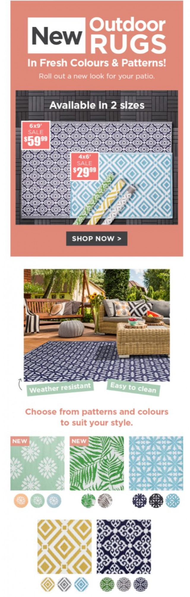 Coupon for: Kitchen Stuff Plus - New Outdoor Rugs Have Arrived!