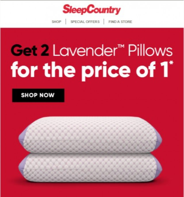 Coupon for: Sleep Country Canada - Peter, don't miss this Lavender Pillow 2 for 1!