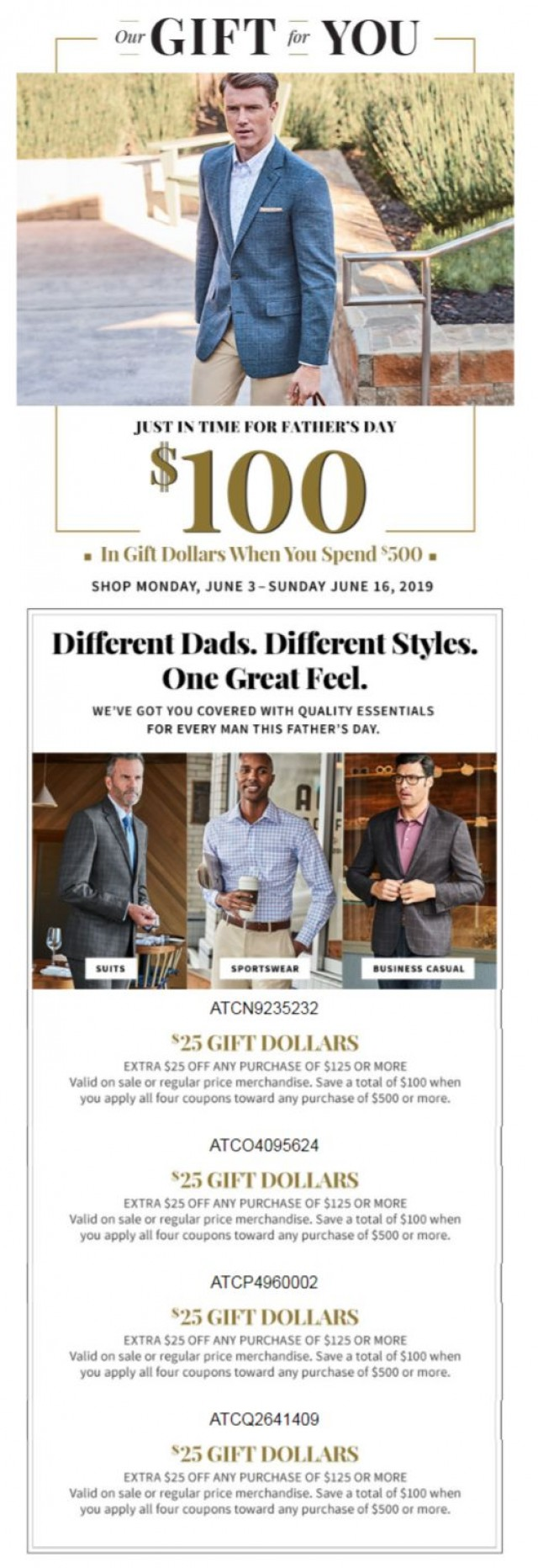 Coupon for: Jos. A. Bank - Starting Tomorrow: $100 in Gift Dollars - Just in Time for Father's Day