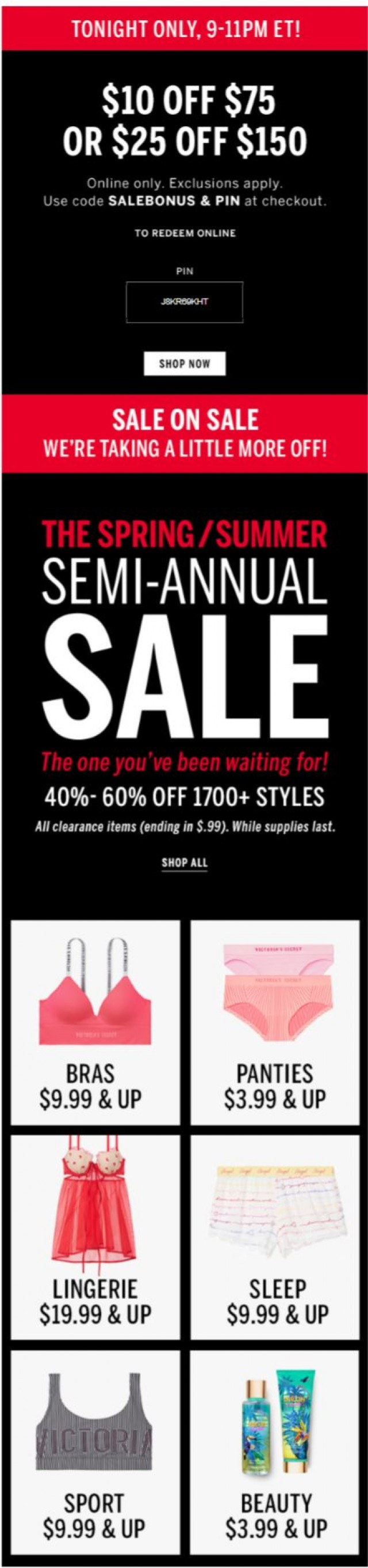 Coupon for: Victoria's Secret - 9PM ET! Get $10 off your $75 purchase