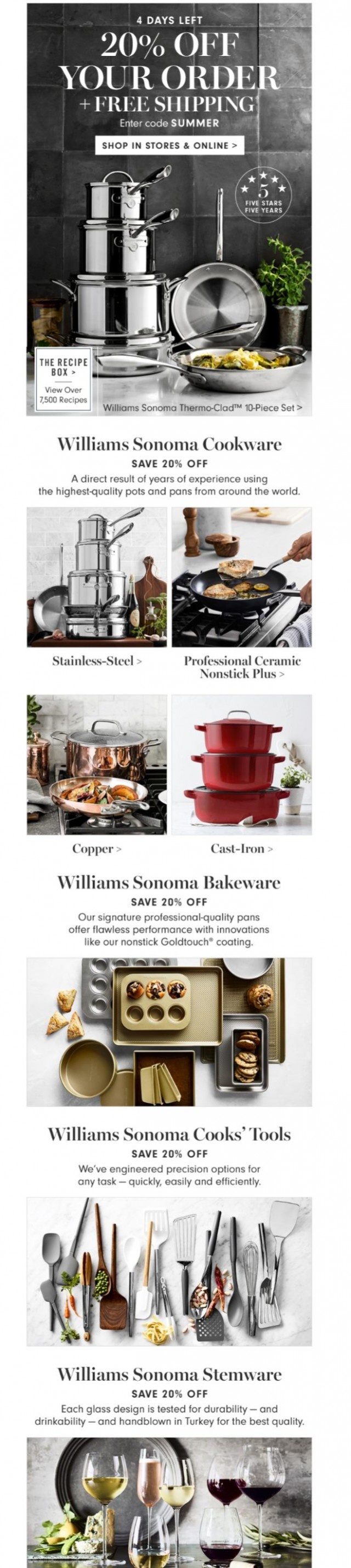 Coupon for: Williams Sonoma - 20% Off Your Order + Free Shipping All Weekend
