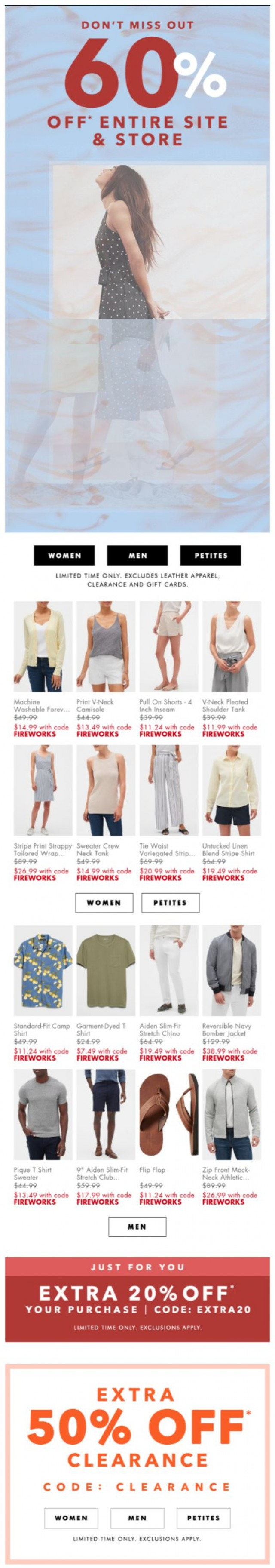 Coupon for: Banana Republic Factory - 72 HOURS LEFT: 60% off NEW ARRIVALS + extra 20% off