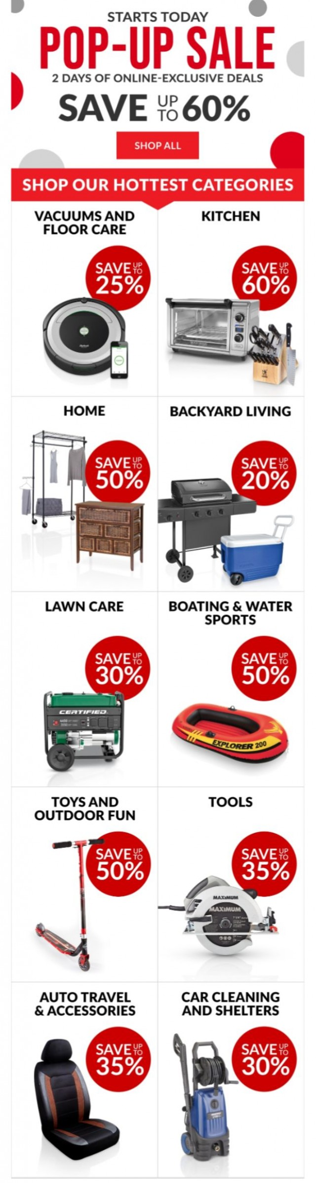 Coupon for: Canadian Tire - Up to 60% off for 2 days only - Starts now