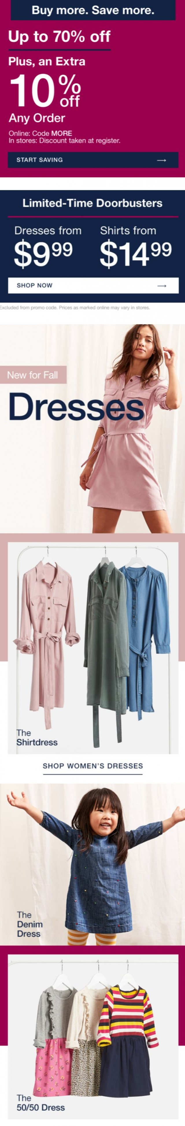 Coupon for: Gap Factory - Fall-ready dresses from $9.99
