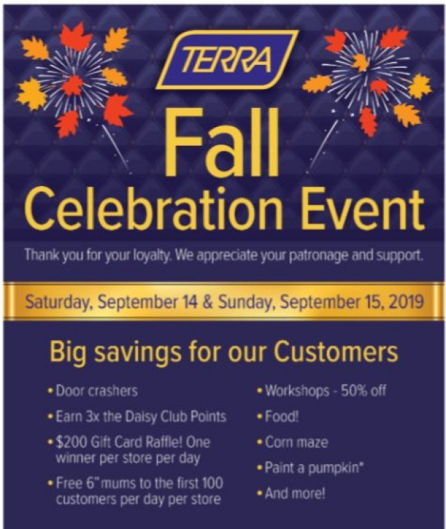 Coupon for: TERRA Greenhouses - Fall Celebration Event is Almost Here!