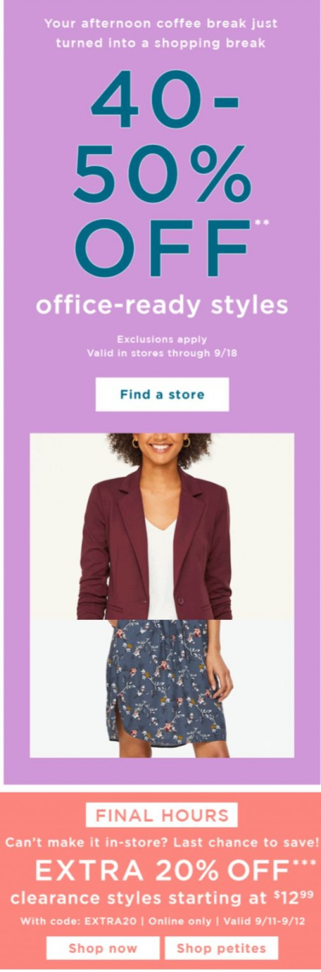 Coupon for: LOFT Outlet - Head to a store this weekend for 40-50% OFF!