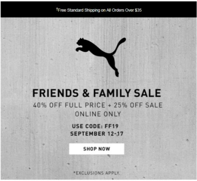 Coupon for: Puma - Hey Fam, Here's 40% Off