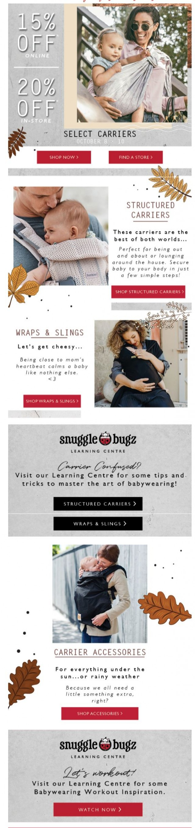 Coupon for: Snuggle Bugz - Get Carried Away with Up to 20% off Carriers!