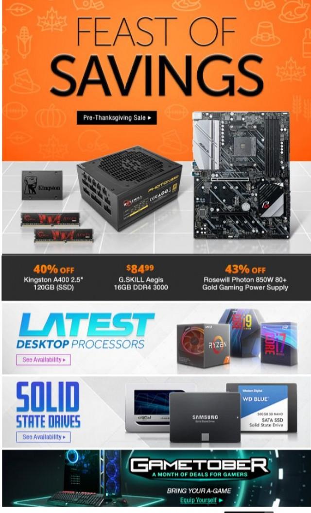 Coupon for: Newegg - Feast on 40% Off Kingston 120GB SSD, $84.99 G.SKILL Aegis 16GB DDR4