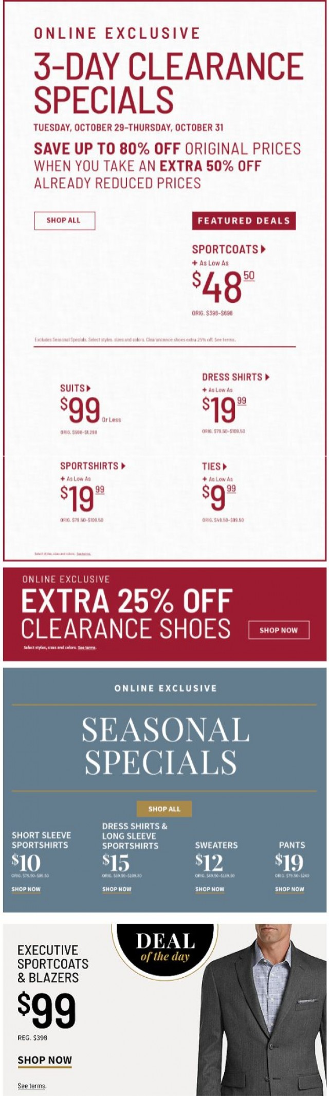 Coupon for: Jos. A. Bank - Extra 50% off Clearance: $19.99 Dress Shirts + $9.99 Ties