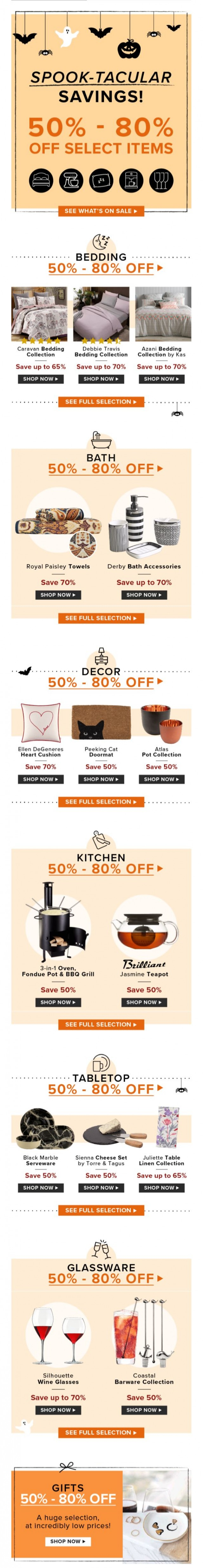 Coupon for: Linen Chest - HALLOWEEN SALE. Savings from 50% to 80% OFF!
