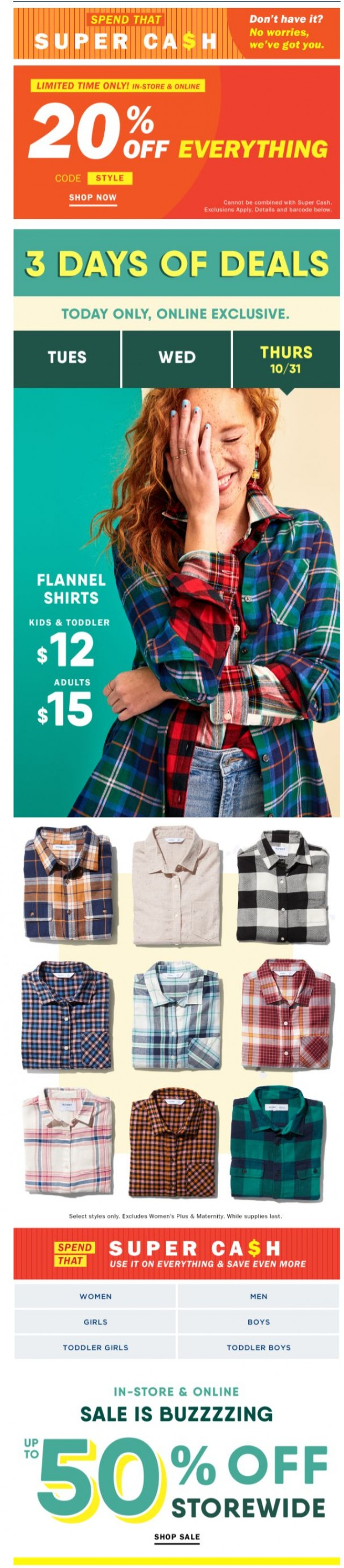 Coupon for: Old Navy - No jokes here: These $12 FLANNELS have your name on them