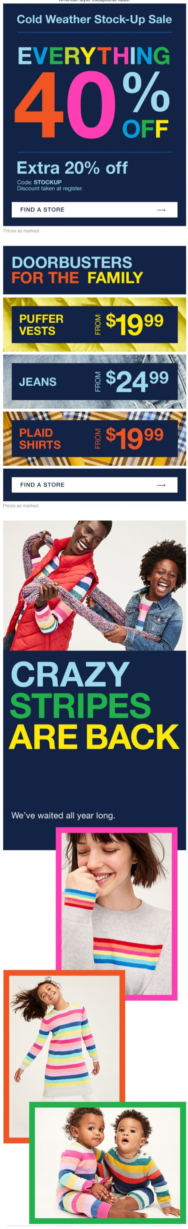 Coupon for: Gap - Crazy stripes. They're back. Finally.