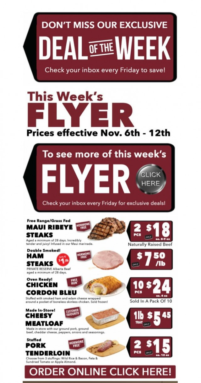 Coupon for: T-Bone's Fresh Meal Market - WHAT'S FOR DINNER - WEEKLY SPECIALS