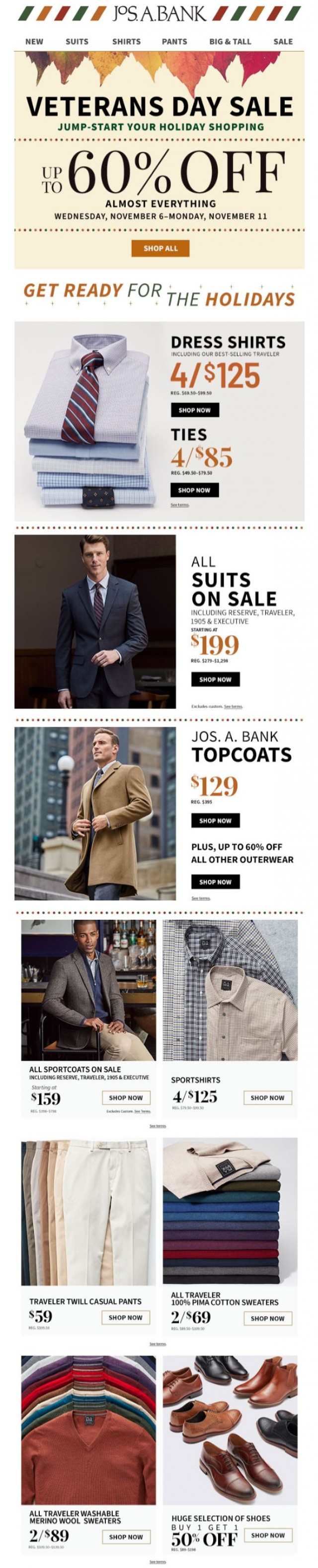 Coupon for: Jos. A. Bank - 4 for $125 Dress Shirts + 4 for $85 Ties + $199 Suits
