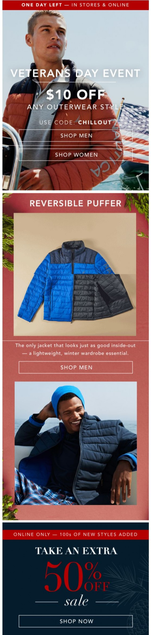Coupon for: Nautica  - One Day Left: Take $10 off Outerwear