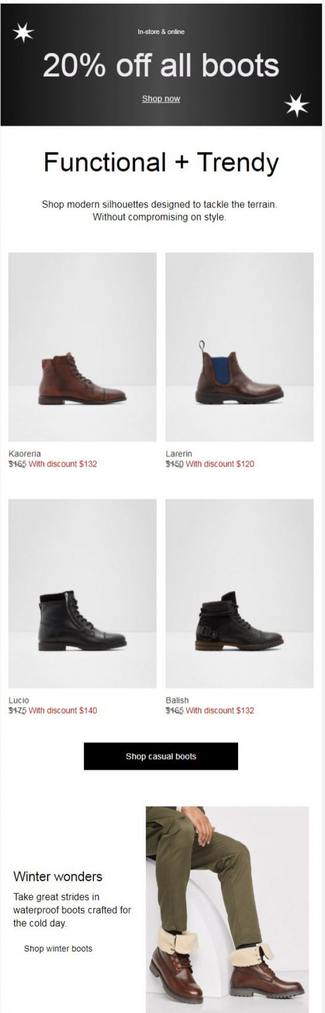 Coupon for: ALDO - Winter survival formula + 20% off boots is happening now