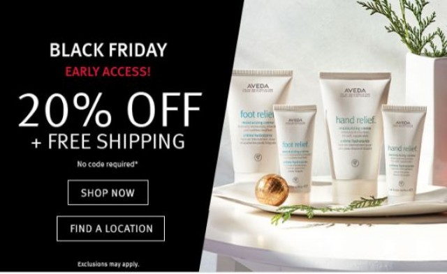 Coupon for: Aveda Black Friday - Enjoy 20% off your favorites! Black Friday Warm Up