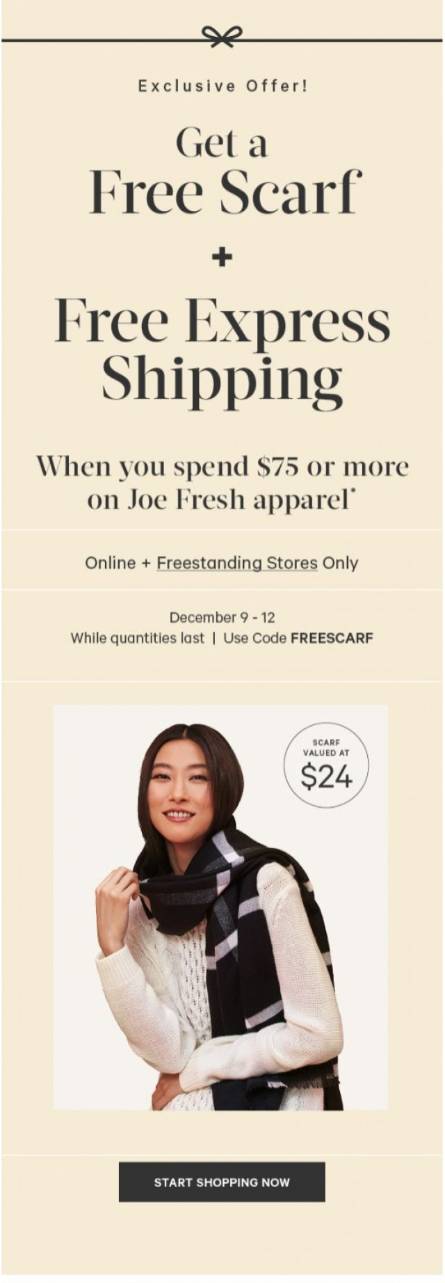 Coupon for: Joe Fresh - Get it for the Holidays. Free Express Shipping