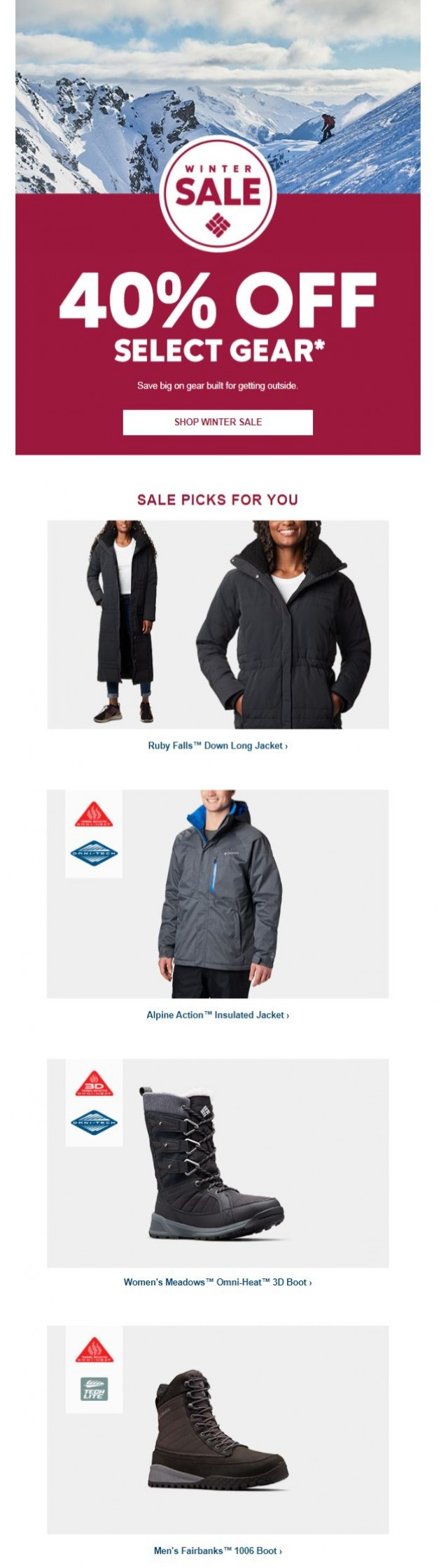 Coupon for: Columbia Sportswear - 40% off your new favorite gear!