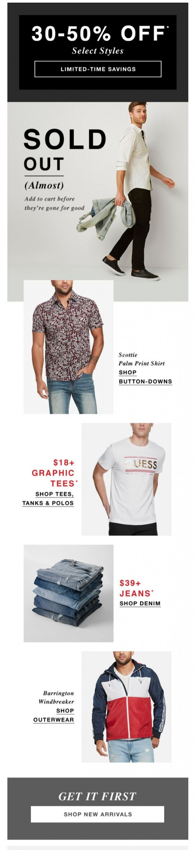 Coupon for: GUESS Factory Men - Almost Gone (Don't Miss Out)