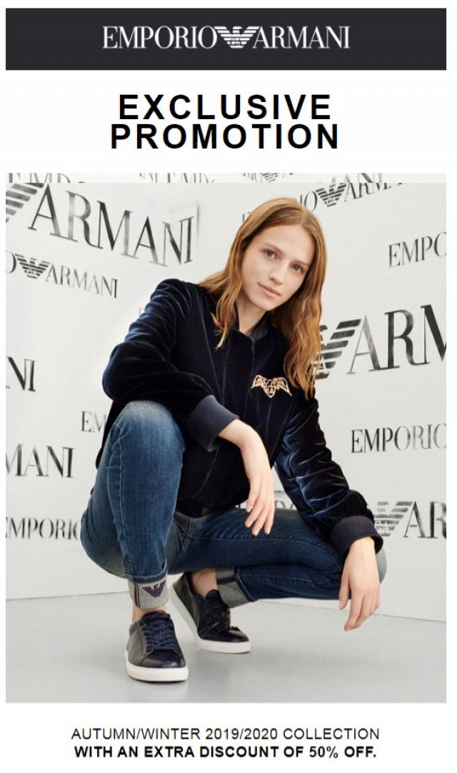 Coupon for: Armani - Just for you: special promotion with 50% off