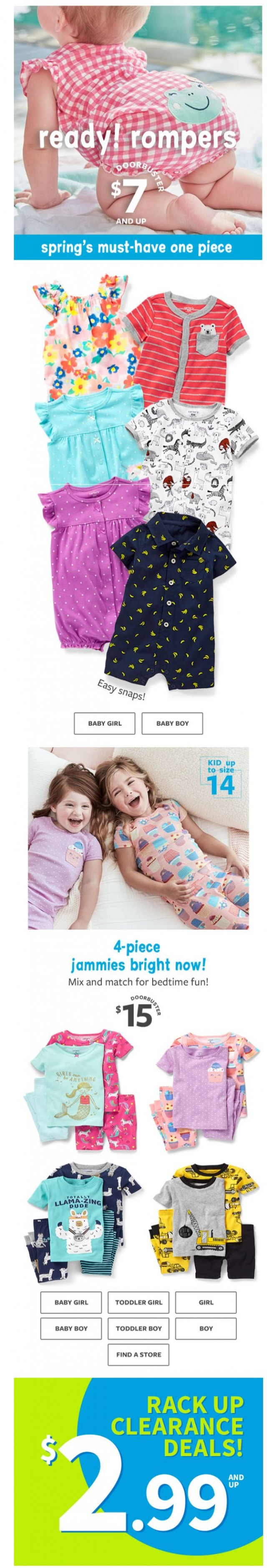 Coupon for: carter's - Romp and roll! $7 and up rompers!