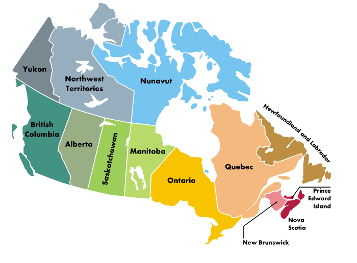 Shopping map of Canada states