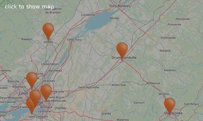 Basha Foods International stores in Quebec (Canada) on map