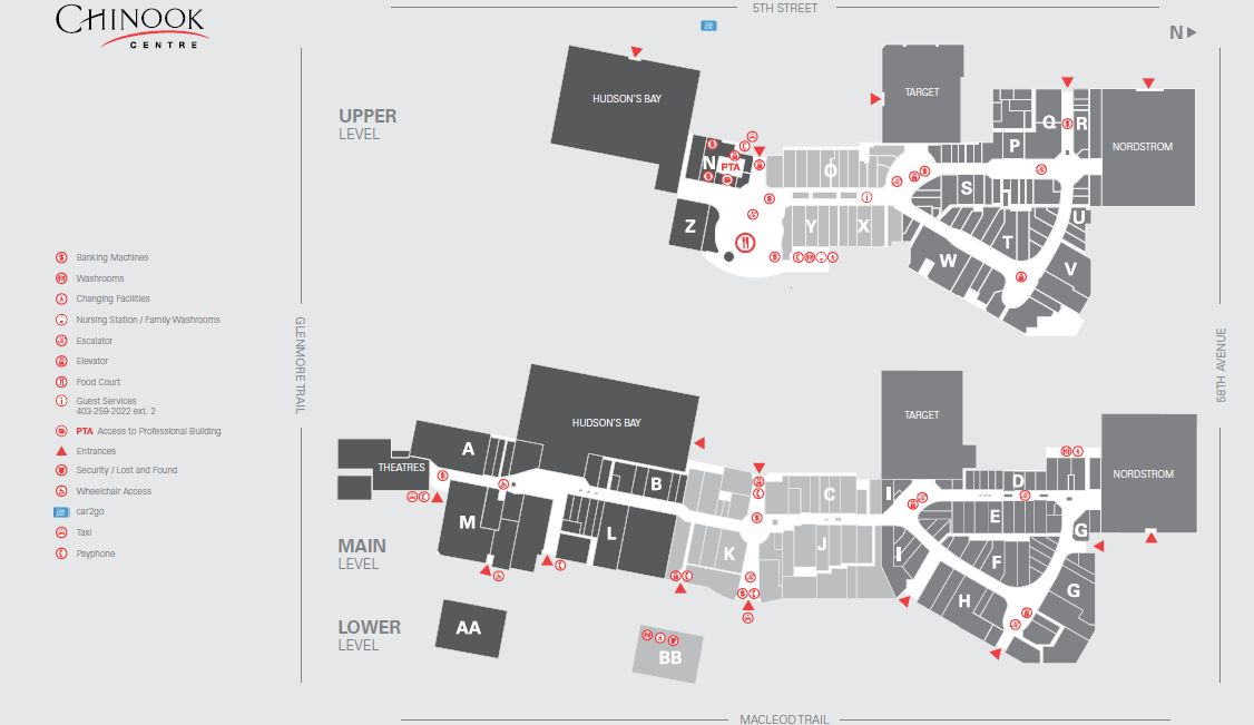 Chinook Mall Map CF Chinook Centre in Calgary, Alberta   257 Stores, Hours