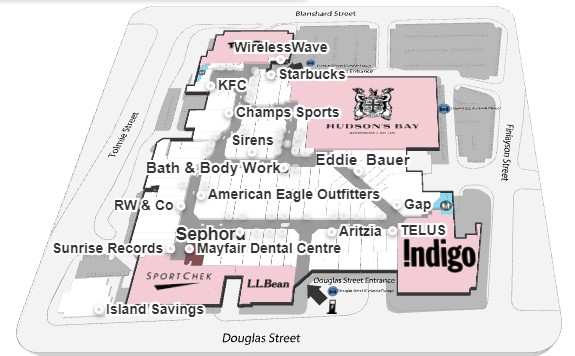 Mayfair Mall Map Mayfair Shopping Centre in Victoria, British Columbia   108 Stores
