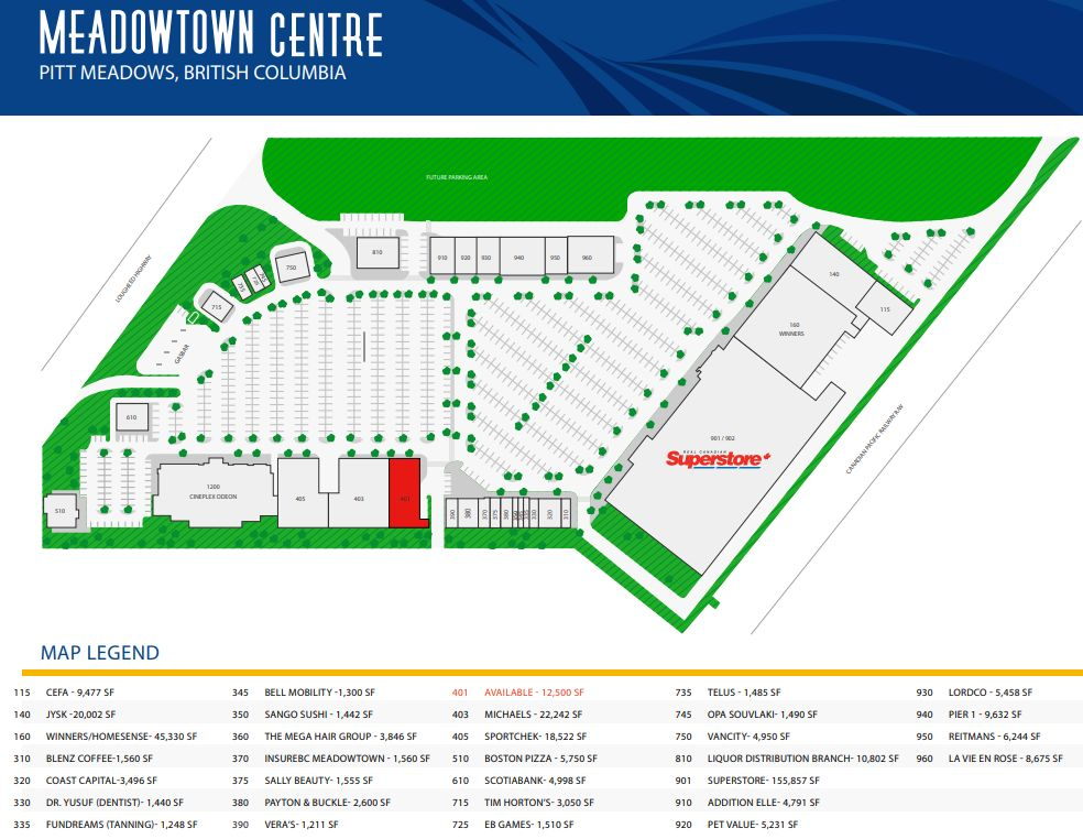 Meadowtown Centre located in Vancouver British Columbia location hours st