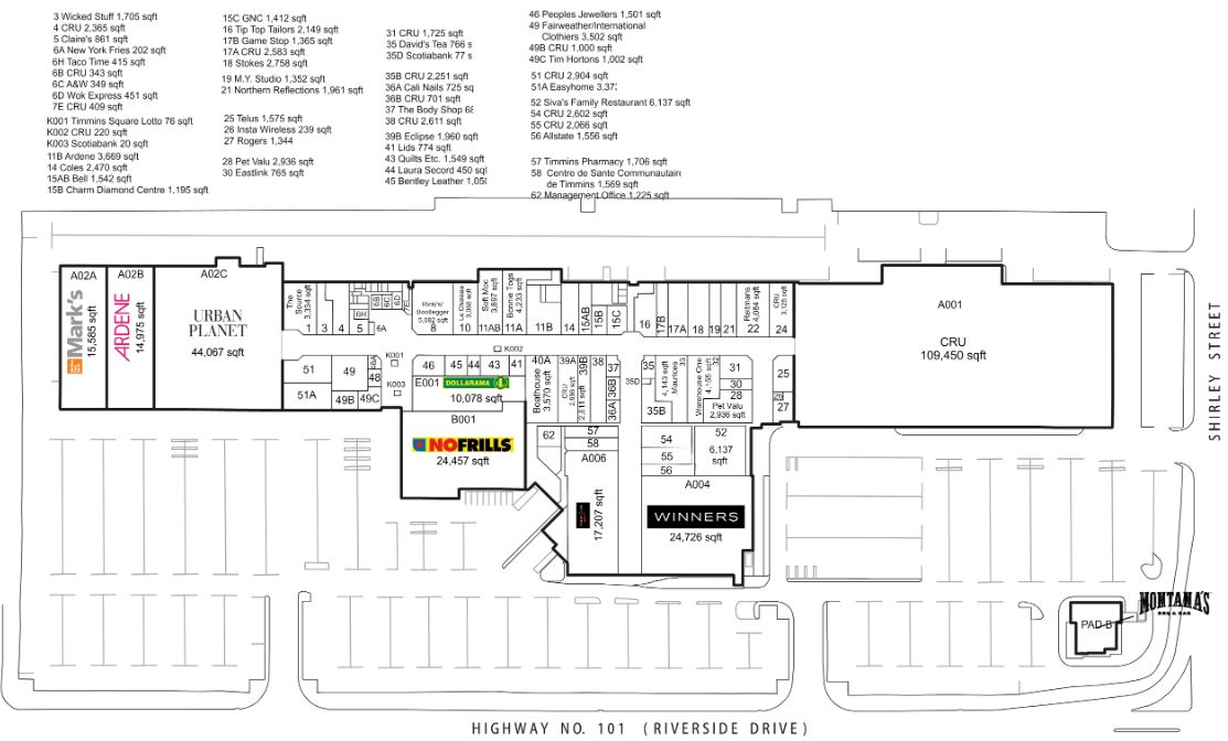 Timmins Square in Timmins Ontario 61 stores location hours