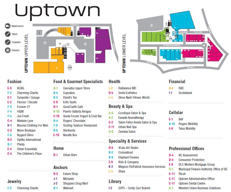 Uptown Centre located in Victoria British Columbia location hours store l