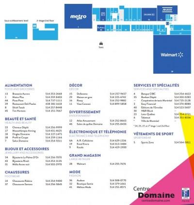 Centre Commercial Domaine plan