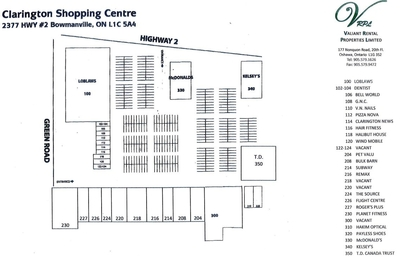 Clarington Shopping Centre plan